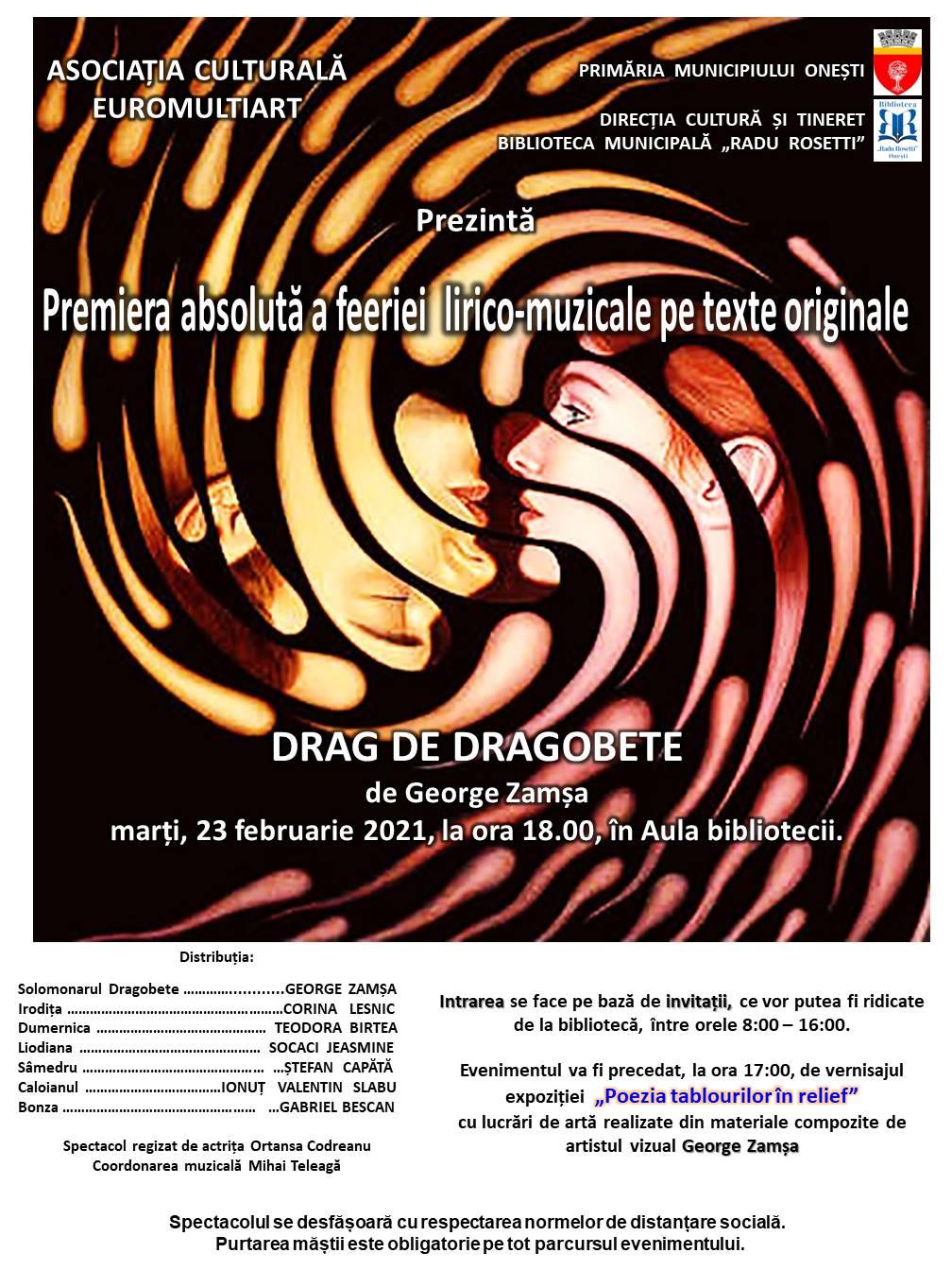 """Spectacol """"Drag de Dragobete"""" la Biblioteca Municipală """"Radu Rosetti"""" Onești"""
