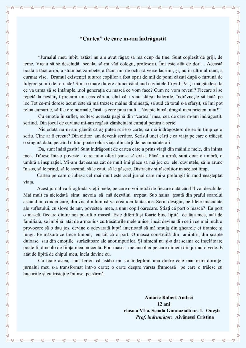 """Premiul Special pentru elevul Amarie Robert Andrei la Concursul """"Cartea pe care o iubesc"""" ed. a IV-a (2021)"""