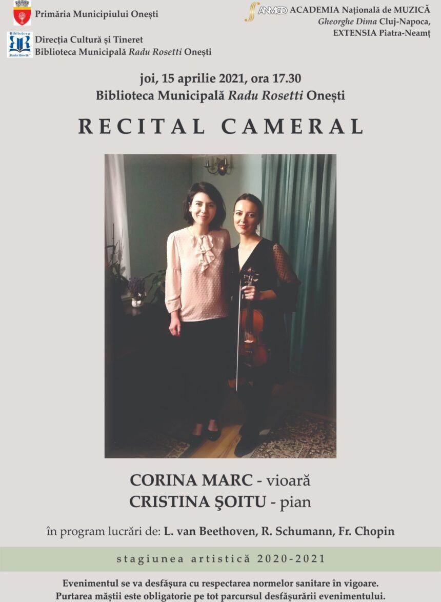 Recital cameral – Corina Marc -vioară și Cristina Șoitu – pian